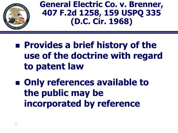 General Electric Co. v. Brenner, 407 F.2d 1258, 159 USPQ 335 (D.C. Cir. 1968)
