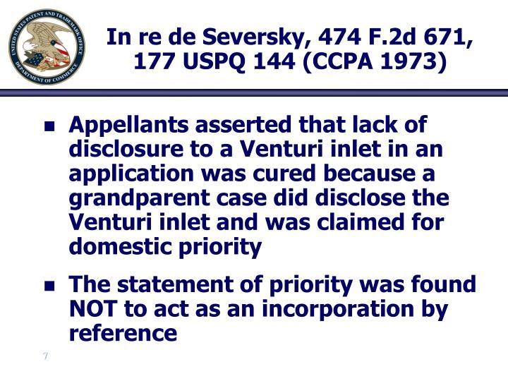 In re de Seversky, 474 F.2d 671, 177 USPQ 144 (CCPA 1973)