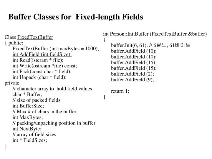 Buffer Classes for  Fixed-length Fields