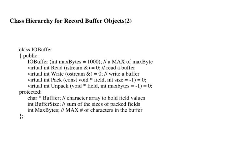 Class Hierarchy for Record Buffer Objects(2)