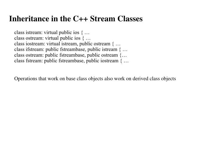 Inheritance in the C++ Stream Classes