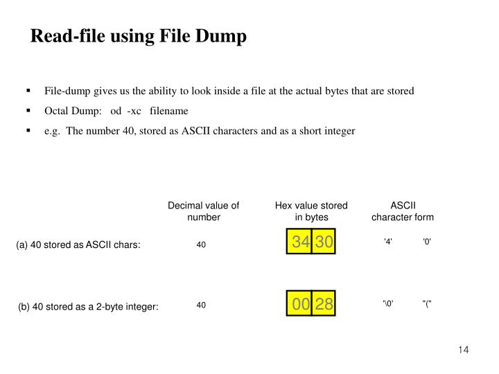 Read-file using File Dump