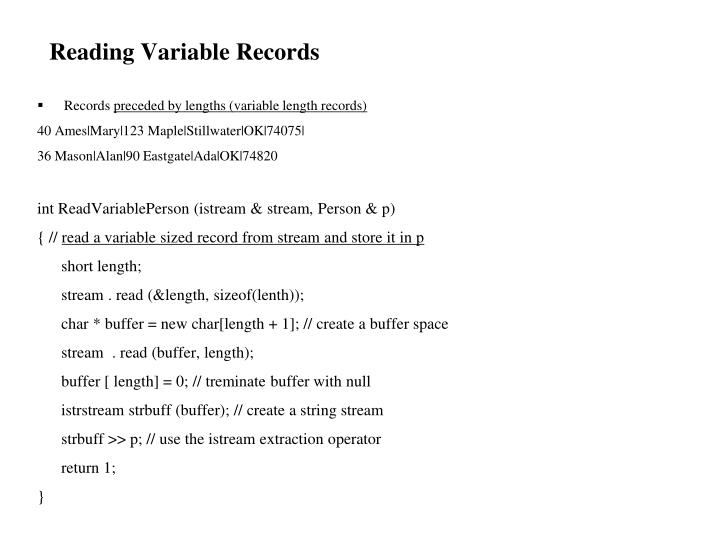 Reading Variable Records