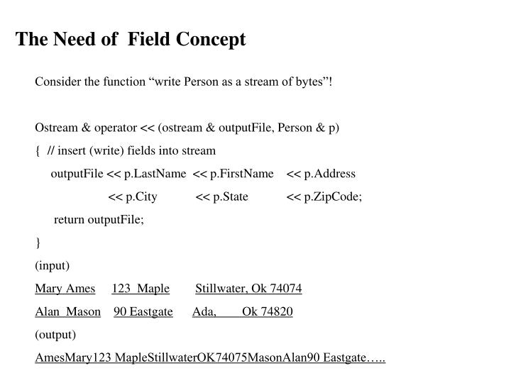 The Need of  Field Concept