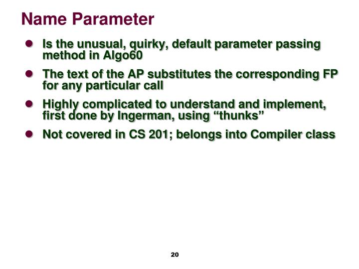 Name Parameter