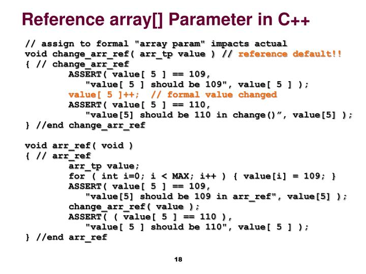 Reference array[] Parameter in C++