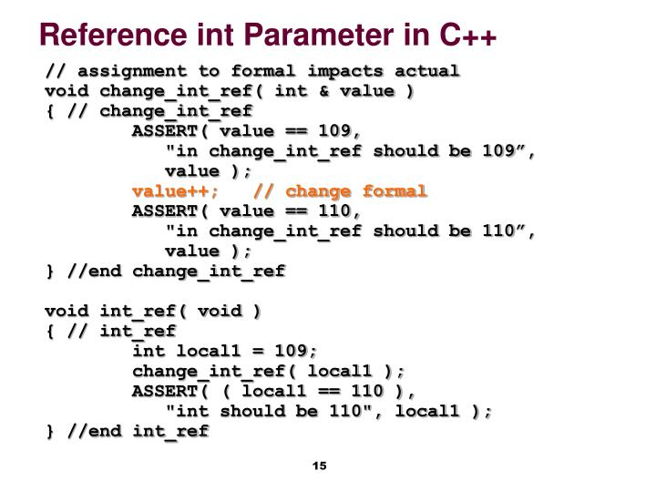 Reference int Parameter in C++