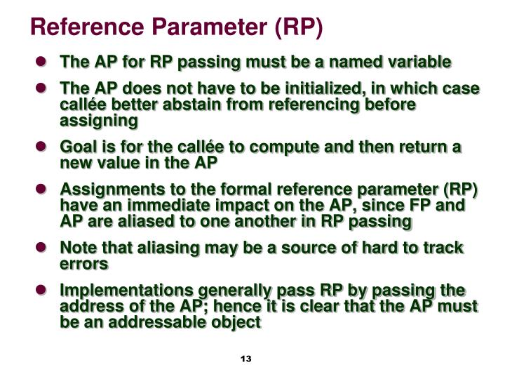 Reference Parameter (RP)