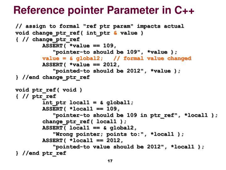 Reference pointer Parameter in C++