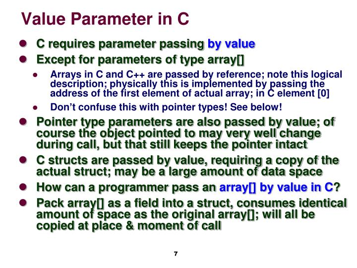 Value Parameter in C