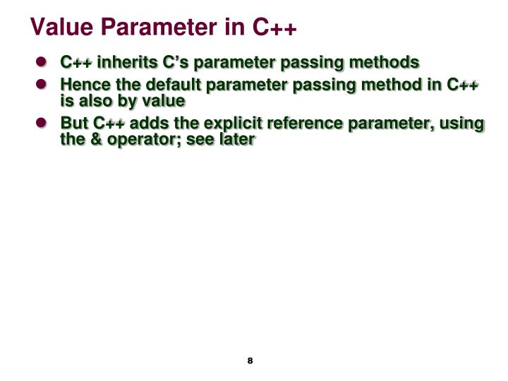 Value Parameter in C++