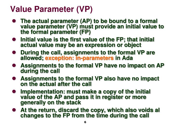 Value Parameter (VP)
