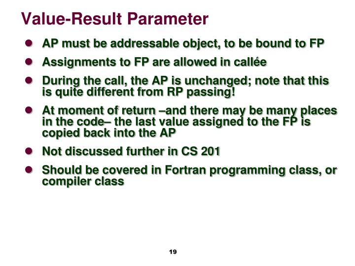 Value-Result Parameter