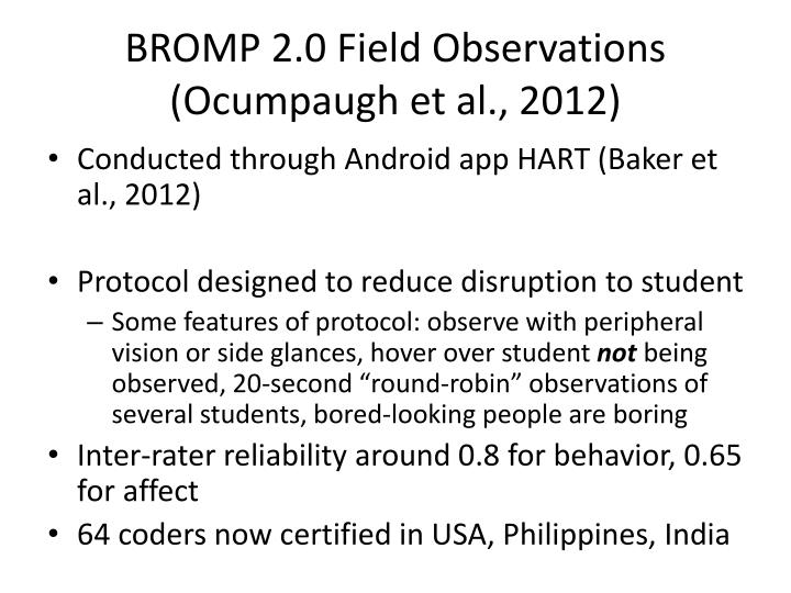 BROMP 2.0 Field Observations