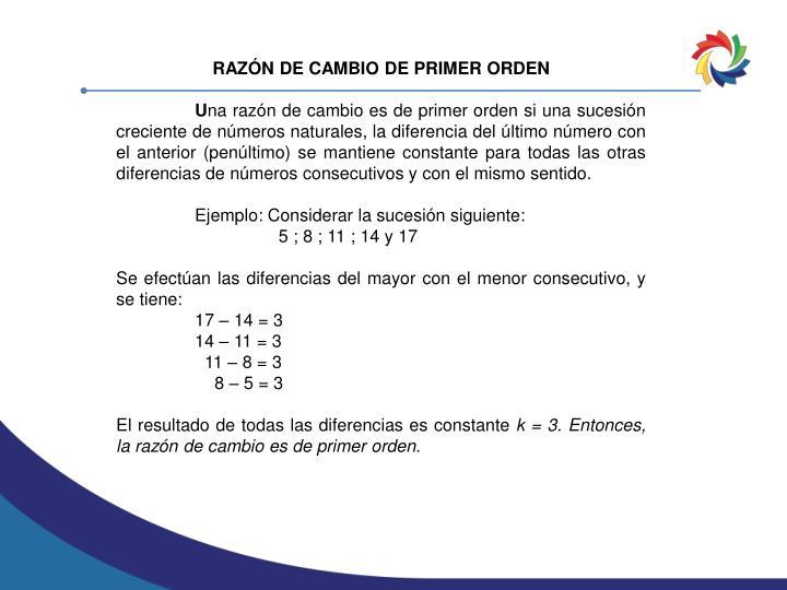 RAZÓN DE CAMBIO DE PRIMER ORDEN