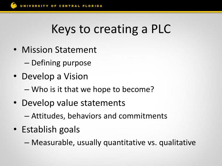 Keys to creating a PLC