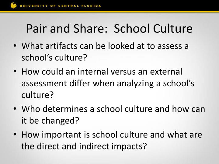 Pair and Share:  School Culture