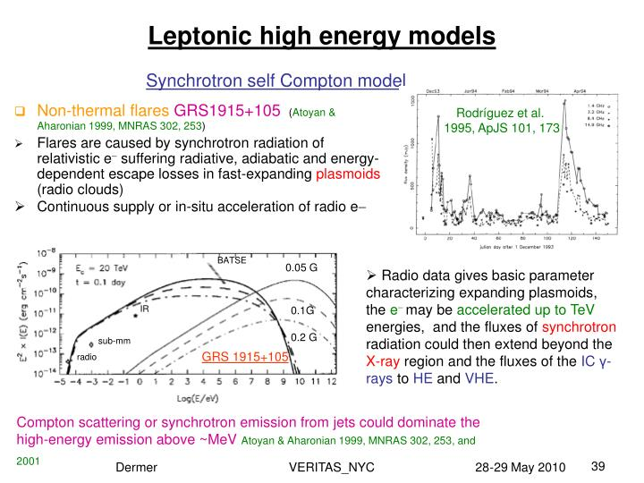 Leptonic high energy models
