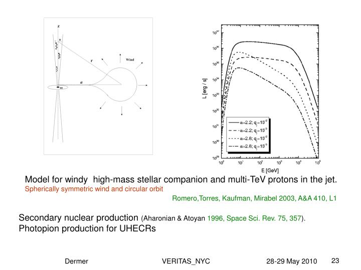 Model for windy  high-mass stellar companion and multi-TeV protons in the jet.