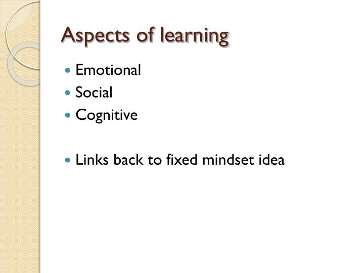 Aspects of learning