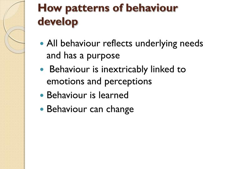 How patterns of behaviour develop