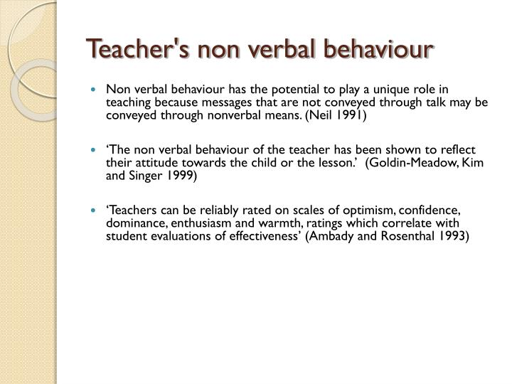 Teacher's non verbal behaviour