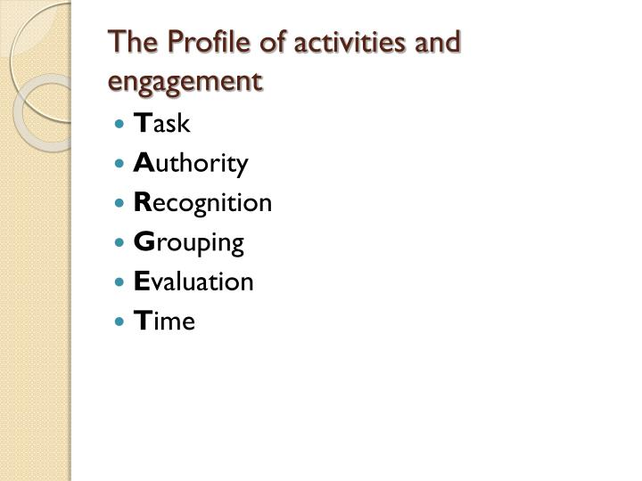The Profile of activities and engagement