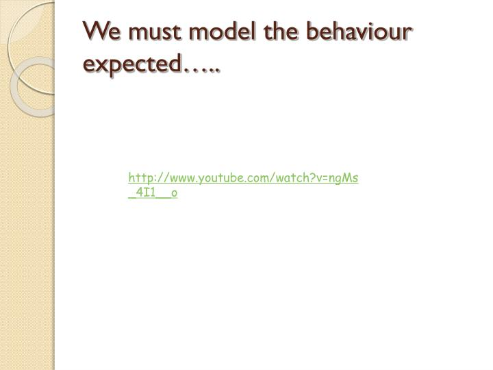 We must model the behaviour expected…..