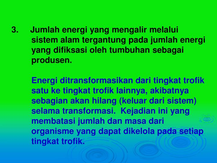 3.     Jumlah energi yang mengalir melalui sistem alam tergantung pada jumlah energi yang difiksasi oleh tumbuhan sebagai produsen.