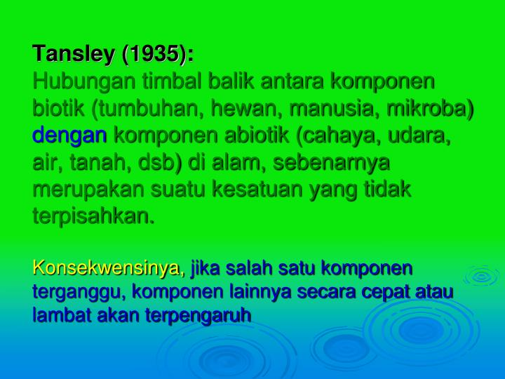 Tansley (1935):