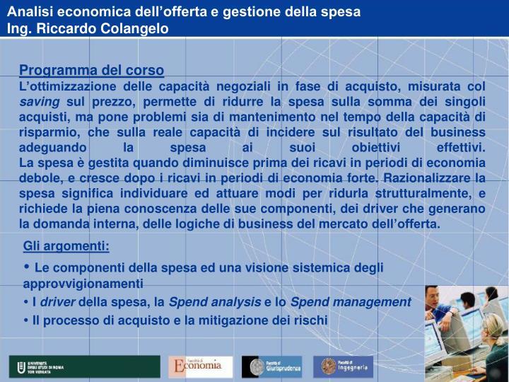 Analisi economica dell'offerta e gestione della spesa