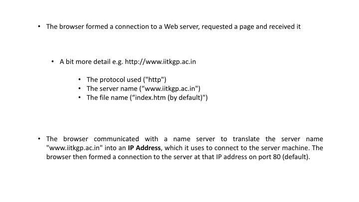 The browser formed a connection to a Web server, requested a page and received it