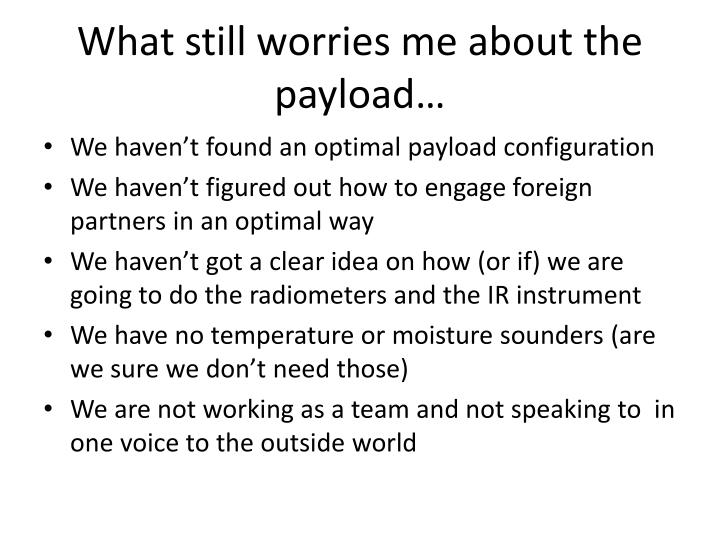 What still worries me about the payload…