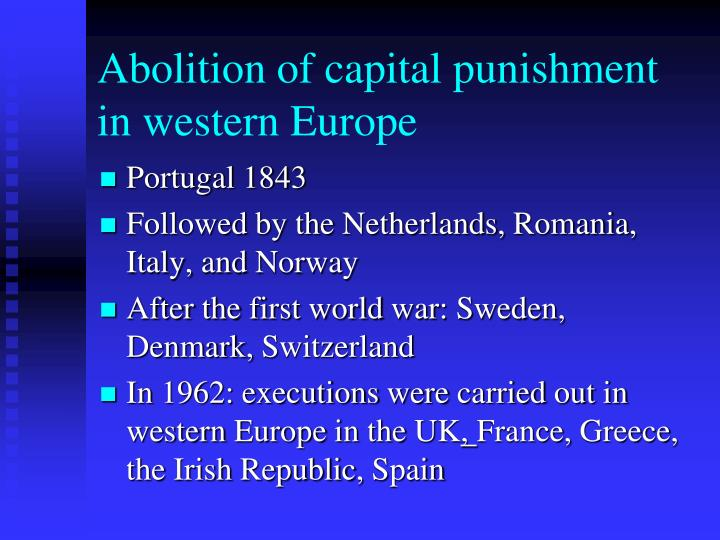 Abolition of capital punishment in western Europe
