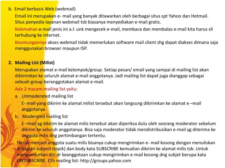 b.  Email berbasis Web (webmail)