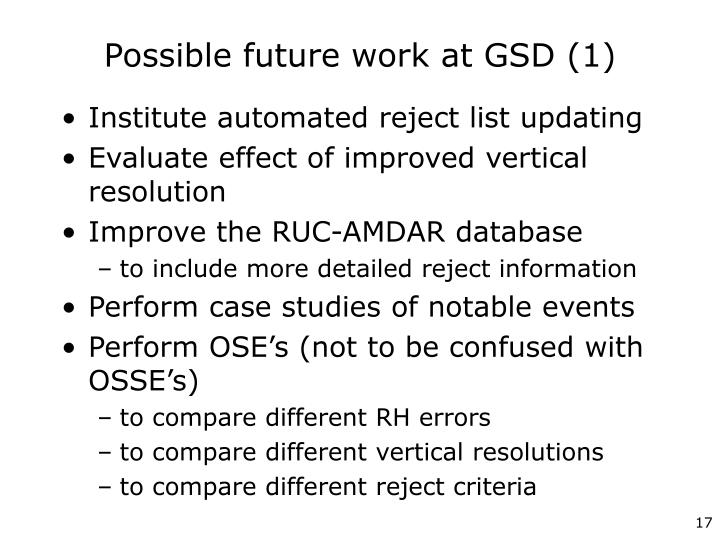 Possible future work at GSD (1)