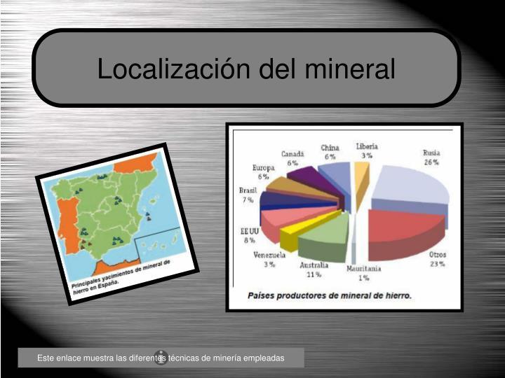 Localización del mineral