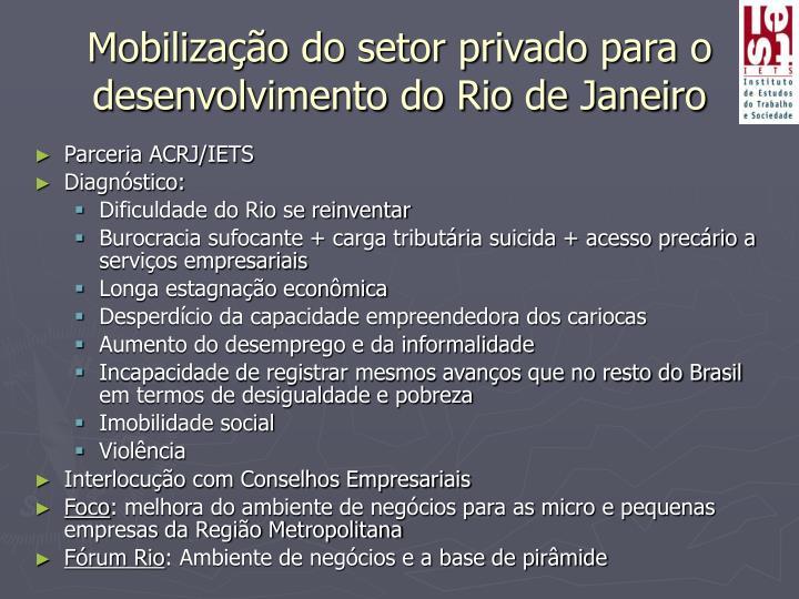 Mobilização do setor privado para o desenvolvimento do Rio de Janeiro