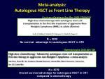 meta analysis autologous hsct as front line therapy