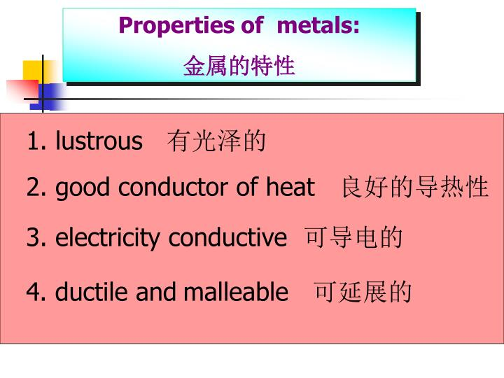 Properties of  metals: