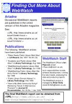 finding out more about webwatch