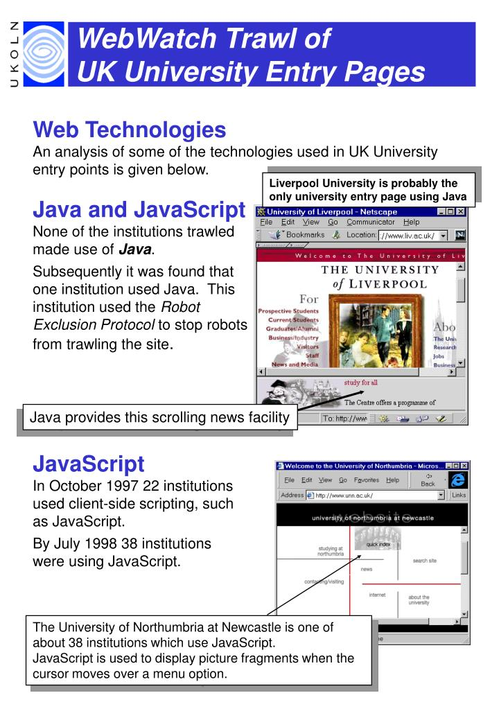 Webwatch trawl of uk university entry pages1