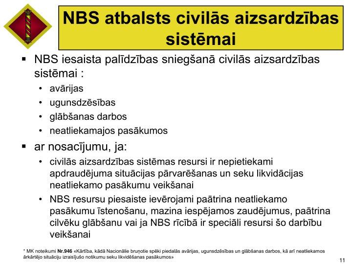 NBS atbalsts civilās aizsardzības sistēmai