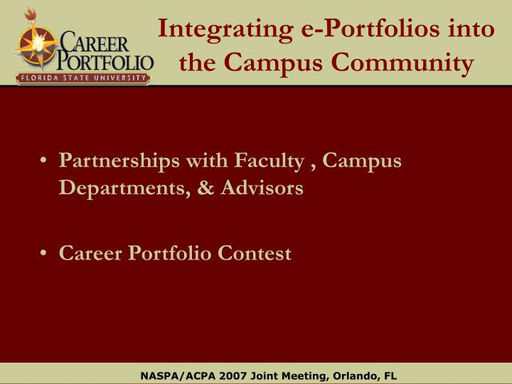 Integrating e-Portfolios into the Campus Community