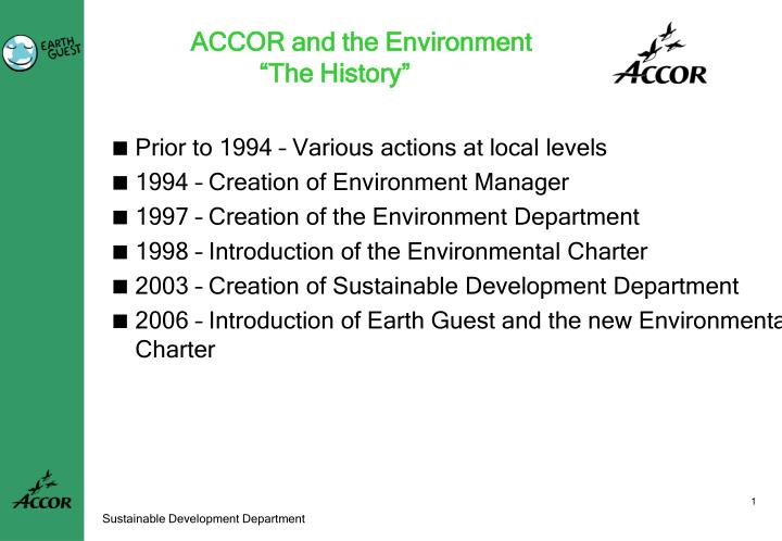 Accor and the environment the history