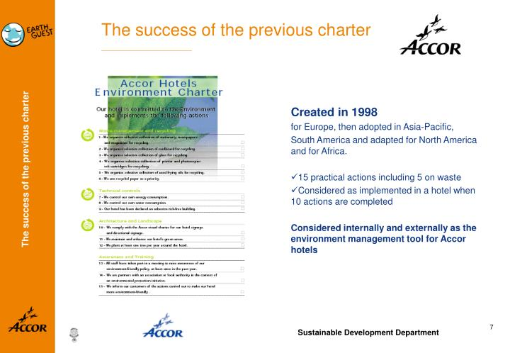 The success of the previous charter