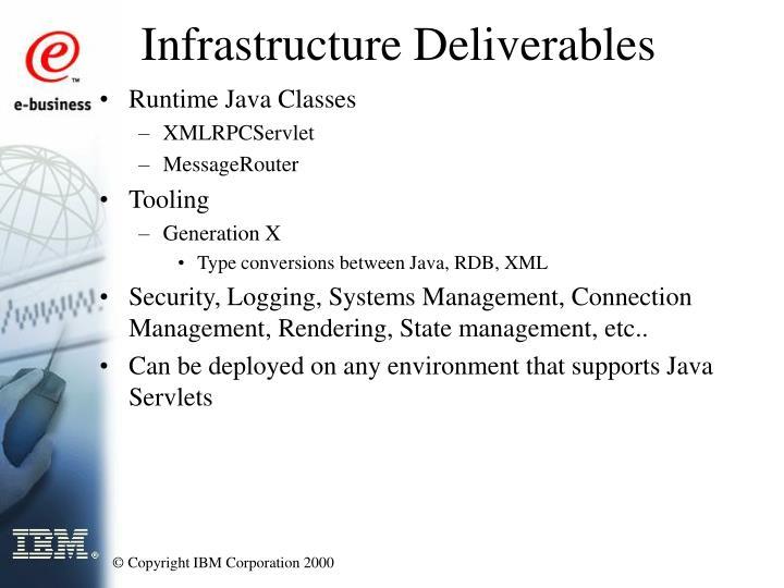 Infrastructure Deliverables