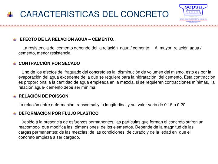CARACTERISTICAS DEL CONCRETO
