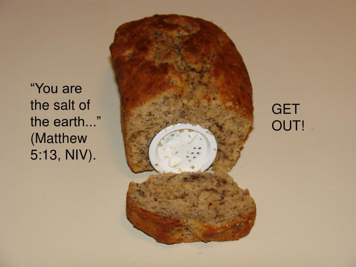 """You are the salt of the earth..."" (Matthew 5:13, NIV)."