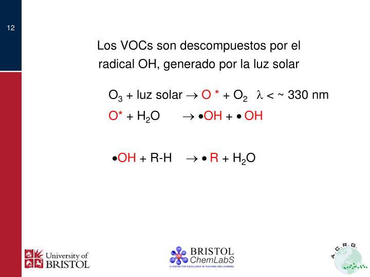 Los VOCs son descompuestos por el radical OH, generado por la luz solar